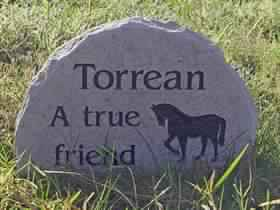 A4 Purbeck Stone with Benguit Font & Horse design.